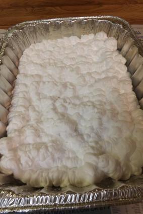Fill pan with shaving cream.