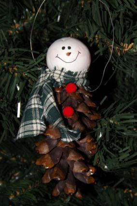 Snowman Pine Cone Ornament