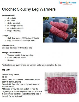 Crochet Leg Warmer Pattern