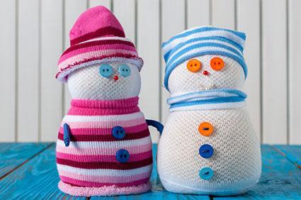 sock snowman couple