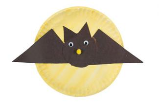 Halloween craft bat on paper plate