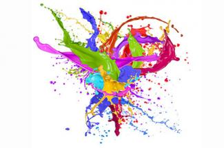 Splashes of colorful paint