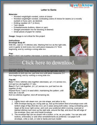 Letters to Santa Knitting Instructions
