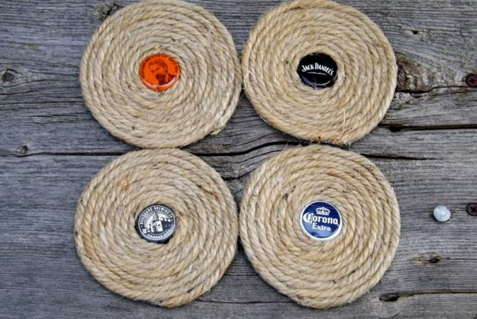 Jute and Bottle Cap Coasters