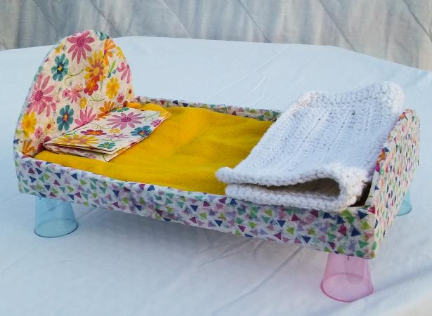 Decoupage doll bed