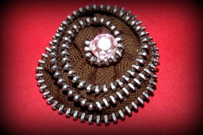 Zipper Rosette Brooch