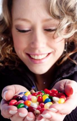 woman holding candy