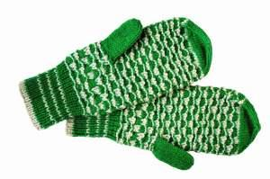 Green and white knitted mittens