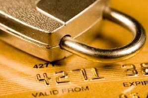 Padlock and credit card