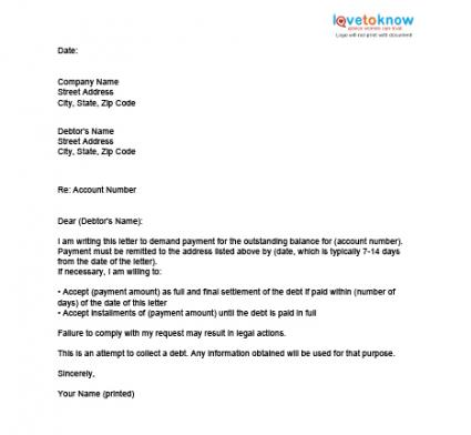 debt negotiation letter template - bebt settlement letter template free printable documents