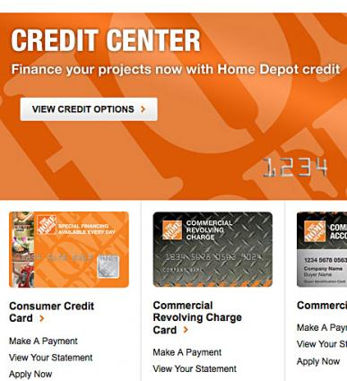 Home depot project credit card