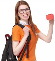 Teen holding credit card