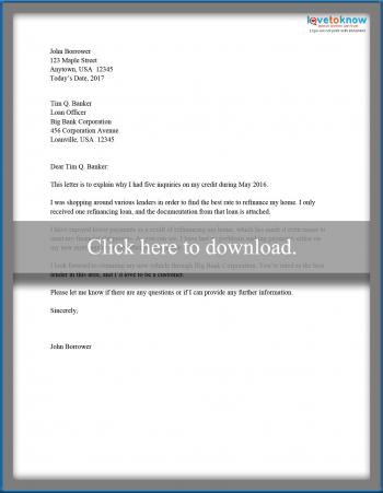 Free Letters Of Explanations For Credit Inquiries