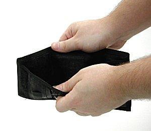hands holding open empty wallet