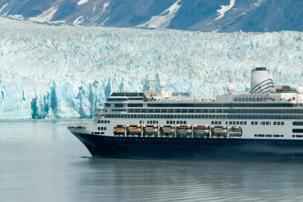 Alaska cruise ship boat near glacier