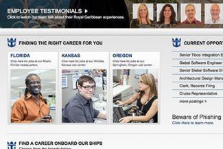 Screenshot of Royal Caribbean Cruises Careers Website