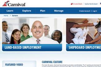 Screenshot of Carnival Cruise Lines Careers Website