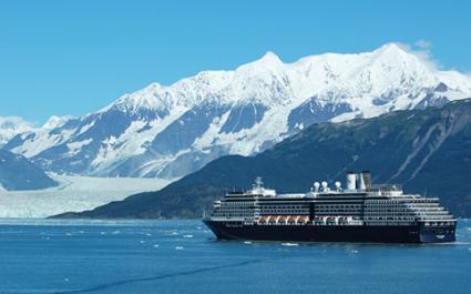 Holland America Cruise Ship in front of Hubbard Glacier, Alaska