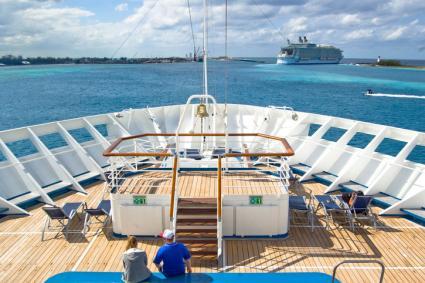 Cruise ship leaving the port of Nassau Bahamas.
