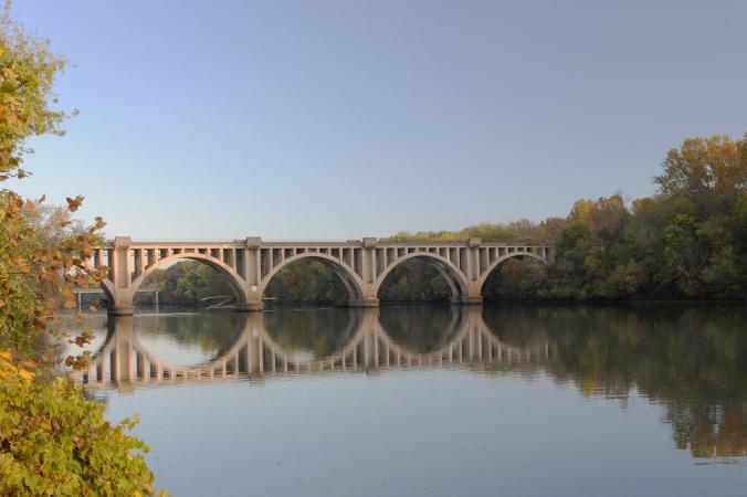 Bridge over river in Fredericksburg, Virginia