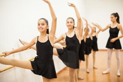 Girls in a ballet class