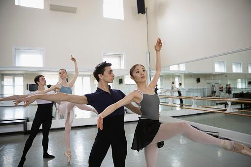 Ballet dancers practicing in studio