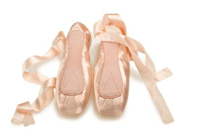 Pointe Shoes with Shiny Ribbons