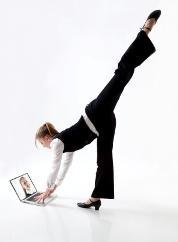 dancer with computer