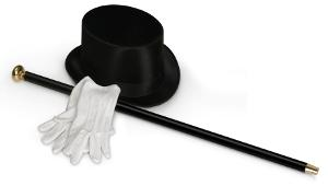 top hat, gloves, and cane