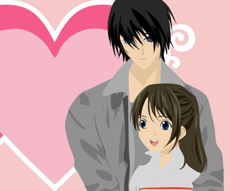 Boy girl dating anime