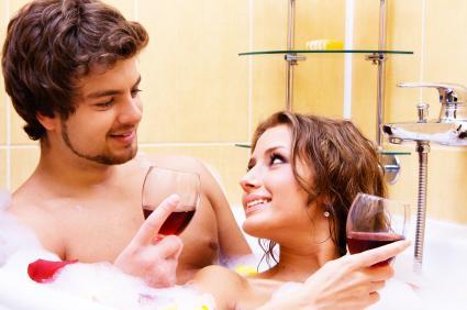 Sharing a romantic bath