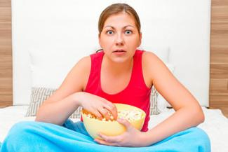 Woman watching a movie