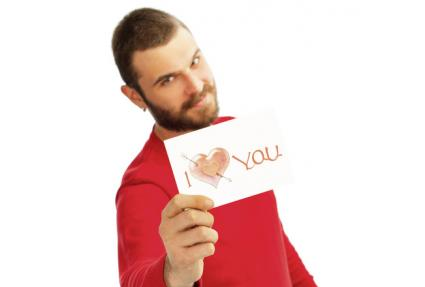 Man with I Love You card