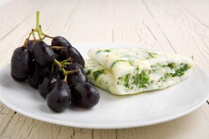 Egg White Omelete and Grapes