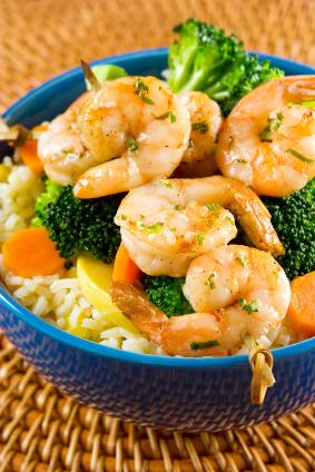 shrimp and broccoli on brown rice