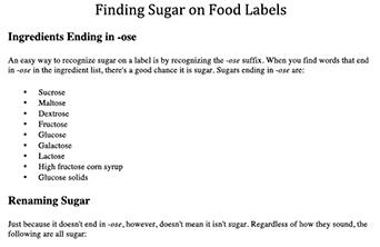 finding sugar on food labels