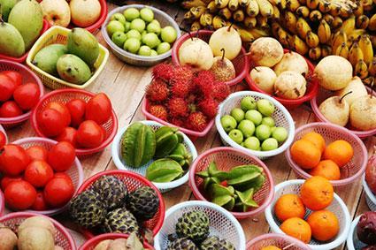 Bowls of tropical fruit
