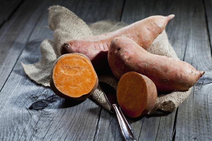 sweet potato and knife