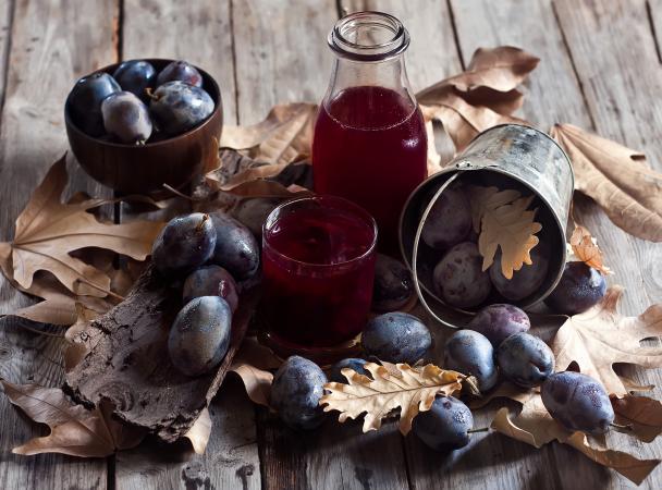 Homemade plum juice