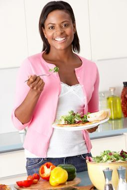 Woman eating healthy portions