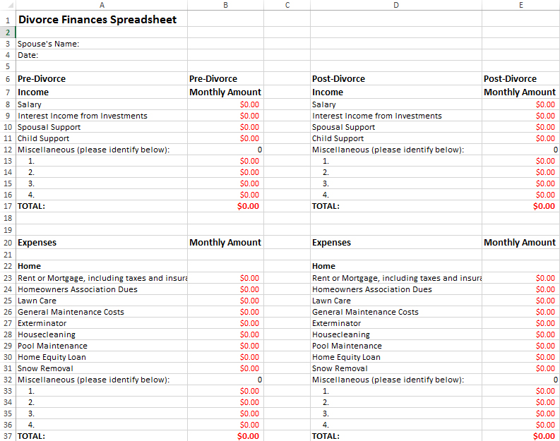 Divorce Finances Spreadsheet – Divorce Property Division Worksheet