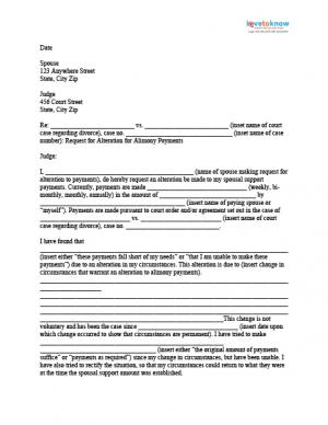 Alimony letters x notarized x request for alimony alteration letter