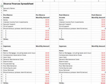 Worksheets Divorce Worksheet divorce finances spreadsheet click the image to download and edit this spreadsheet