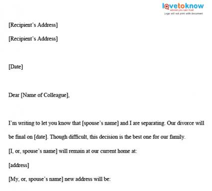 Divorce Letter Sample – Announcement Letter Samples