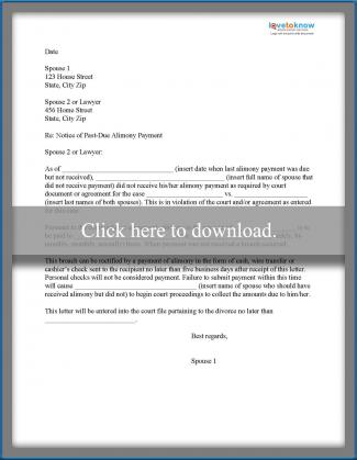 Sample Alimony Letters