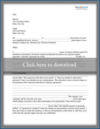 request for alimony alteration printable