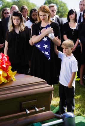 Family at a military funeral