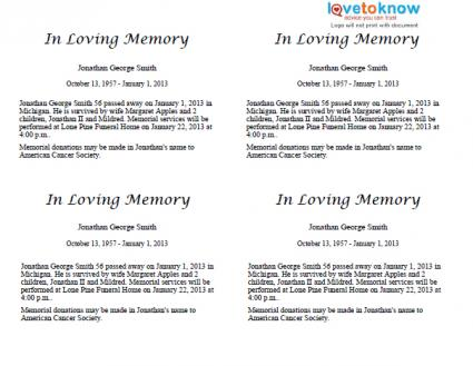 Free obituary templates for Obituary guide template