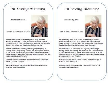 Free Obituary Templates – Death Obituary Template