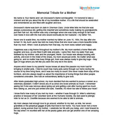 memorial tributes to mothers sample memorial tribute
